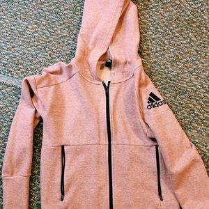 light pink adidas zip up hoodie